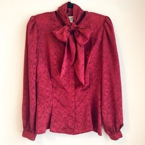Vintage Maroon Paisley Tie Neck Ascot Button Up